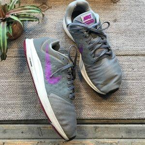 Nike down-shifter grey/ purple running sneaker 10